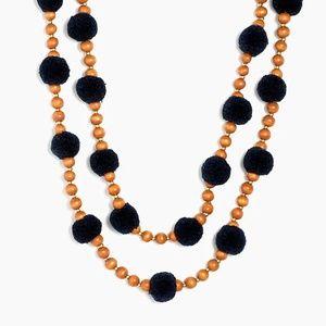 J CREW Pom Pom & Beads Necklace Navy
